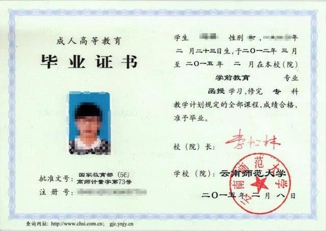 云南师范大学成人高考毕业证