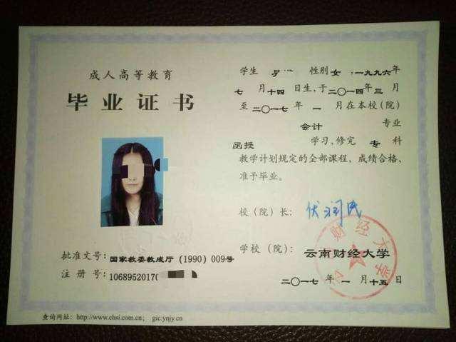 云南财经大学成人高考毕业证